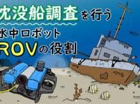 沈没船調査を行う水中ロボット「ROV」の役割